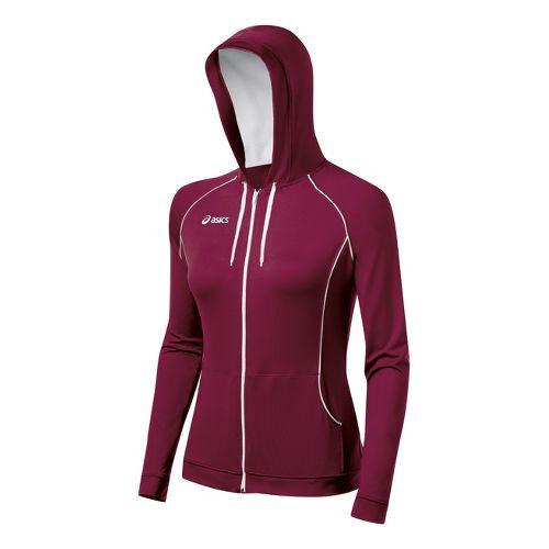Womens ASICS Alana Warm-Up Hooded Jackets - Cardinal/White L