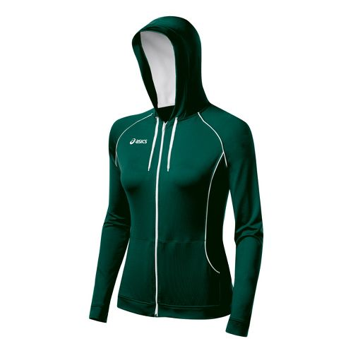 Womens ASICS Alana Warm-Up Hooded Jackets - Forest/White S