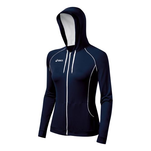 Womens ASICS Alana Warm-Up Hooded Jackets - Navy/White L