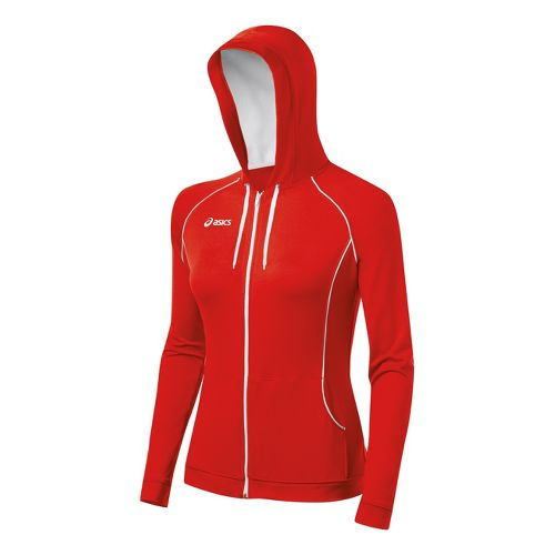 Womens ASICS Alana Warm-Up Hooded Jackets - Red/White L
