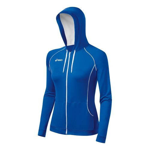 Womens ASICS Alana Warm-Up Hooded Jackets - Royal/White M