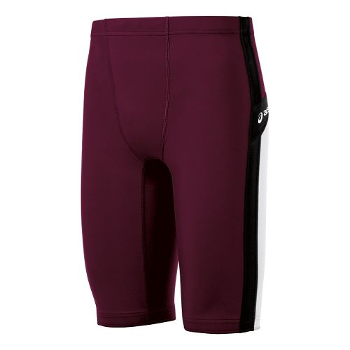 Mens ASICS Anchor Fitted Shorts - Maroon/White L