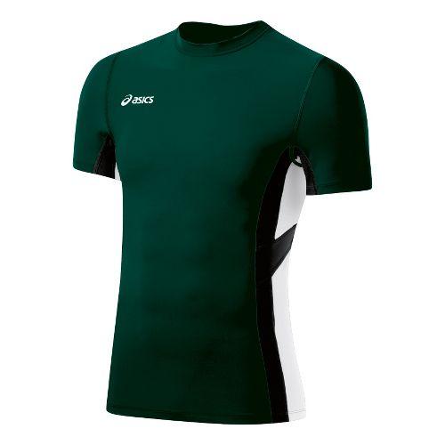 Mens ASICS Anchor Short Sleeve Technical Tops - Forest/White L