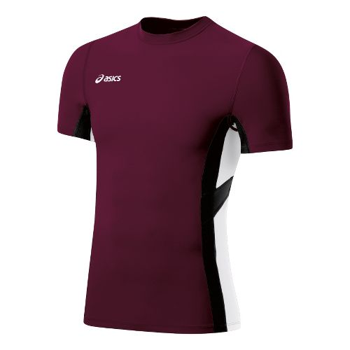 Mens ASICS Anchor Short Sleeve Technical Tops - Maroon/White XL