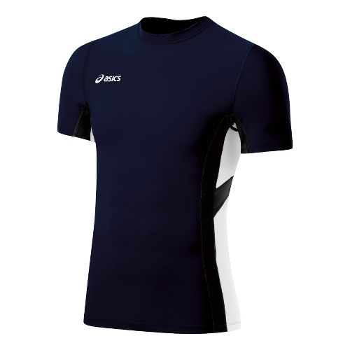 Mens ASICS Anchor Short Sleeve Technical Tops - Navy/White 2X