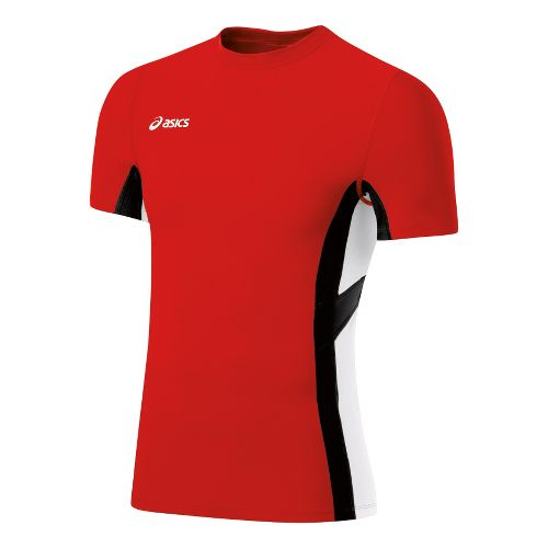 Mens ASICS Anchor Short Sleeve Technical Tops - Red/White 2X