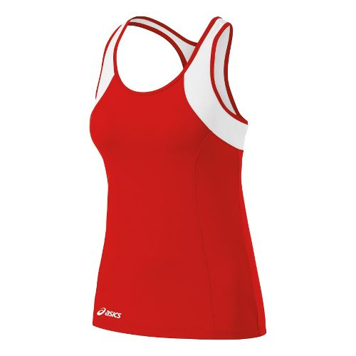 Womens ASICS Love Tanks Technical Tops - Red/White 2X