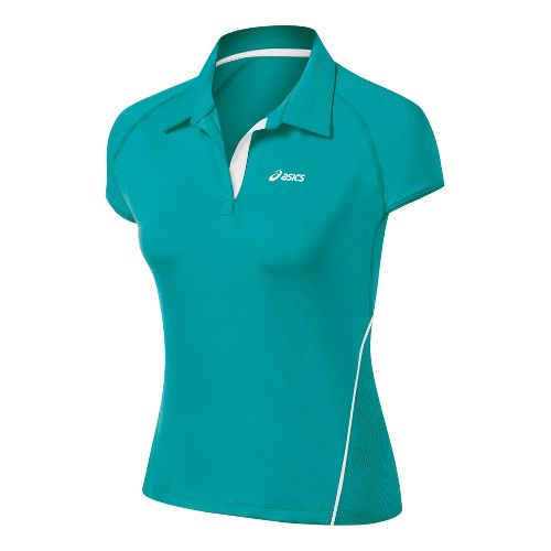 Womens ASICS Break Polo Short Sleeve Technical Tops - Green Jade M