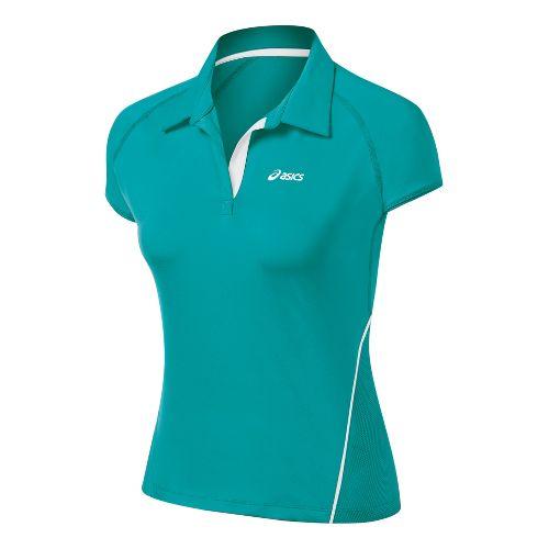 Womens ASICS Break Polo Short Sleeve Technical Tops - Green Jade XS
