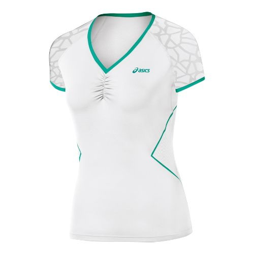 Womens ASICS Break Top Short Sleeve Technical Tops - Real White S