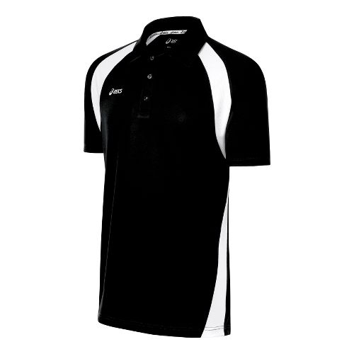 Mens ASICS Broc Polo Short Sleeve Technical Tops - Black/White S
