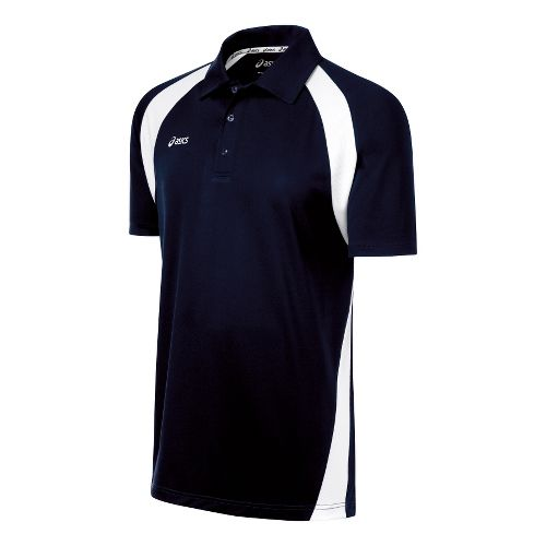 Mens ASICS Broc Polo Short Sleeve Technical Tops - Navy/White XL