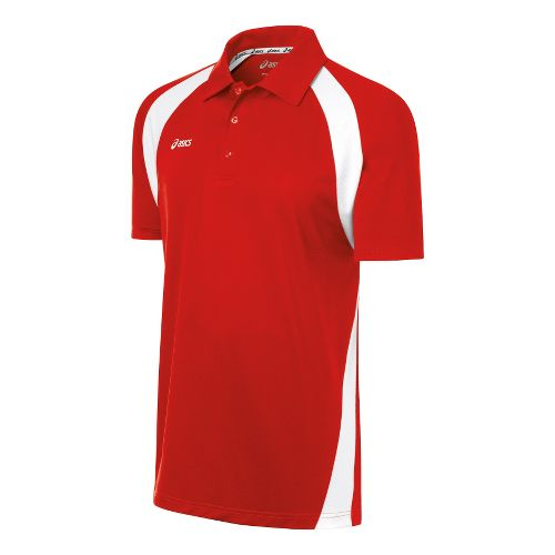 Mens ASICS Broc Polo Short Sleeve Technical Tops - Red/White S