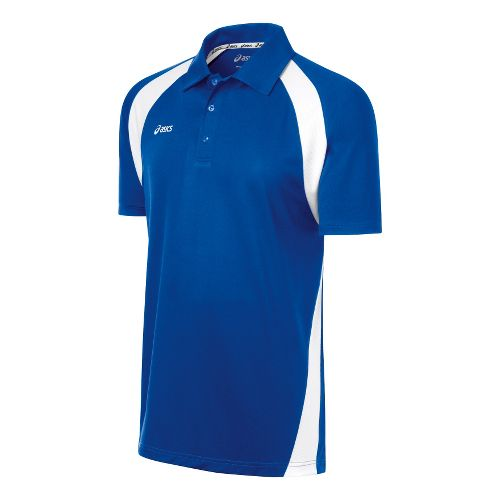 Mens ASICS Broc Polo Short Sleeve Technical Tops - Royal/White 2X