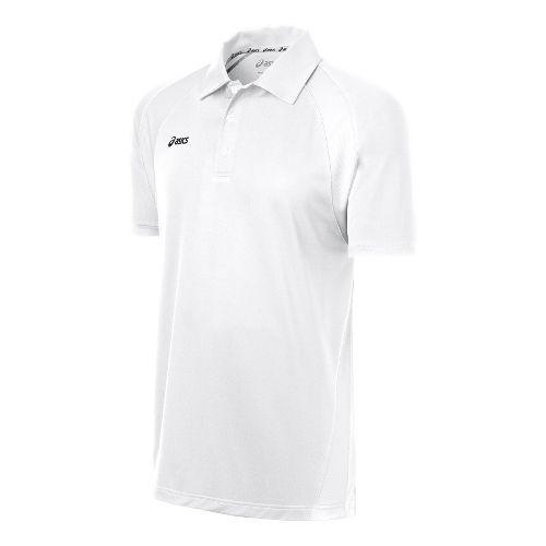 Mens ASICS Broc Polo Short Sleeve Technical Tops - White/White M