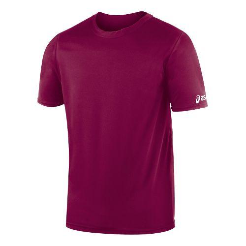 Mens ASICS Circuit-7 Warm Up Shirt Short Sleeve Technical Tops - Cardinal S
