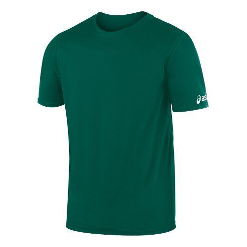 Mens ASICS Circuit-7 Warm Up Shirt Short Sleeve Technical Tops - Forest XL
