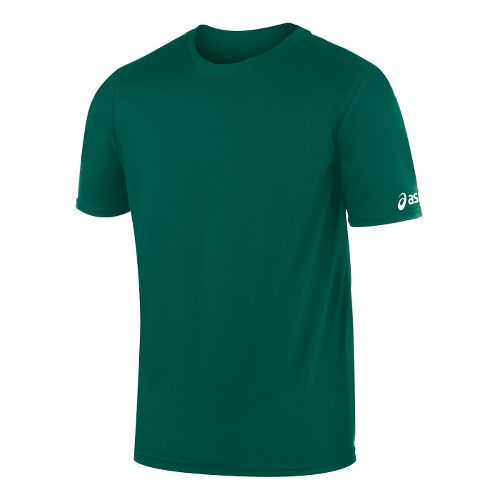 Mens ASICS Circuit-7 Warm Up Shirt Short Sleeve Technical Tops - Forest XS