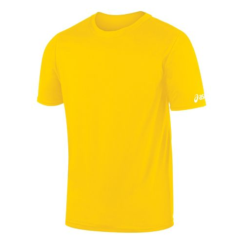 Mens ASICS Circuit-7 Warm Up Shirt Short Sleeve Technical Tops - Gold S