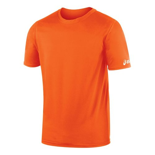 Mens ASICS Circuit-7 Warm Up Shirt Short Sleeve Technical Tops - Orange L