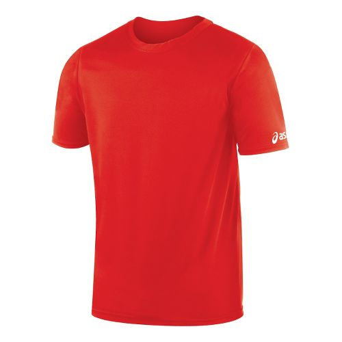 Mens ASICS Circuit-7 Warm Up Shirt Short Sleeve Technical Tops - Red XS