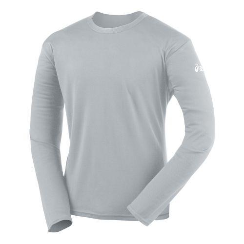 Mens ASICS Circuit-7 Warm-Up Shirt Long Sleeve No Zip Technical Tops - Athletic Grey M ...
