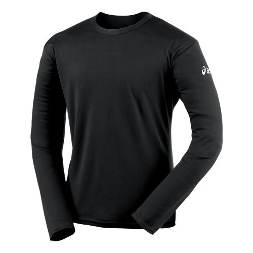 Mens ASICS Circuit-7 Warm-Up Shirt Long Sleeve No Zip Technical Tops - Black S
