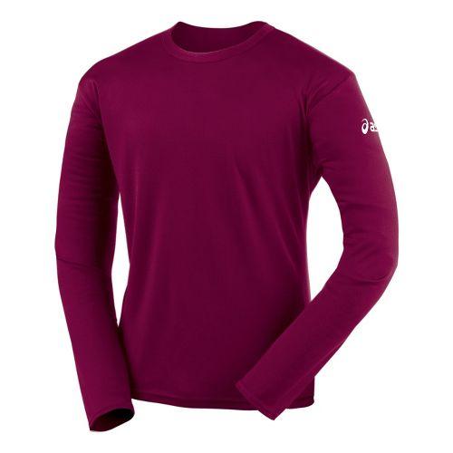 Mens ASICS Circuit-7 Warm-Up Shirt Long Sleeve No Zip Technical Tops - Cardinal L