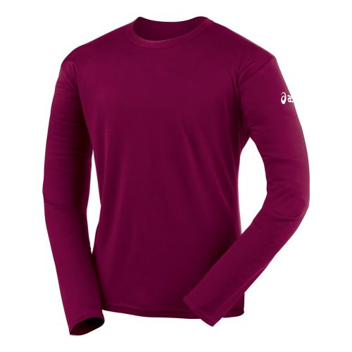 Mens ASICS Circuit-7 Warm-Up Shirt Long Sleeve No Zip Technical Tops - Cardinal S