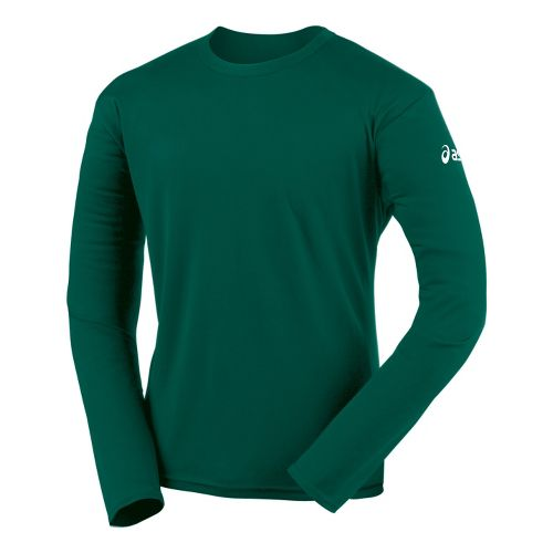 Mens ASICS Circuit-7 Warm-Up Shirt Long Sleeve No Zip Technical Tops - Forest L