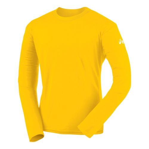 Mens ASICS Circuit-7 Warm-Up Shirt Long Sleeve No Zip Technical Tops - Gold XS