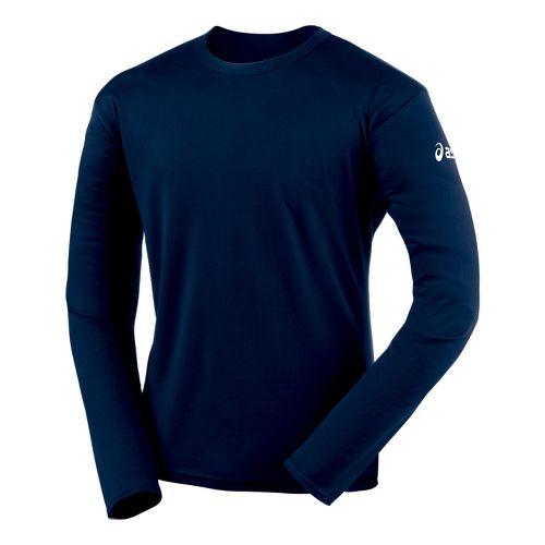 Mens ASICS Circuit-7 Warm-Up Shirt Long Sleeve No Zip Technical Tops - Navy XS