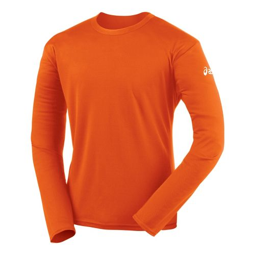 Mens ASICS Circuit-7 Warm-Up Shirt Long Sleeve No Zip Technical Tops - Orange S