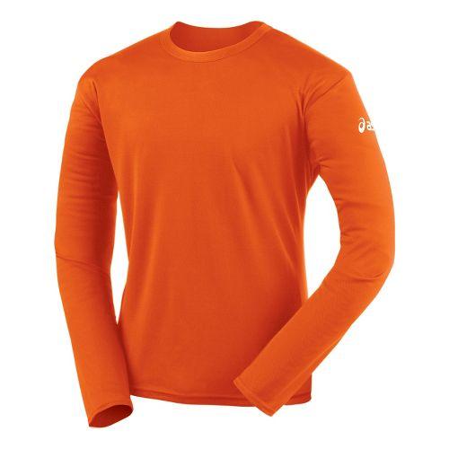 Mens ASICS Circuit-7 Warm-Up Shirt Long Sleeve No Zip Technical Tops - Orange XS