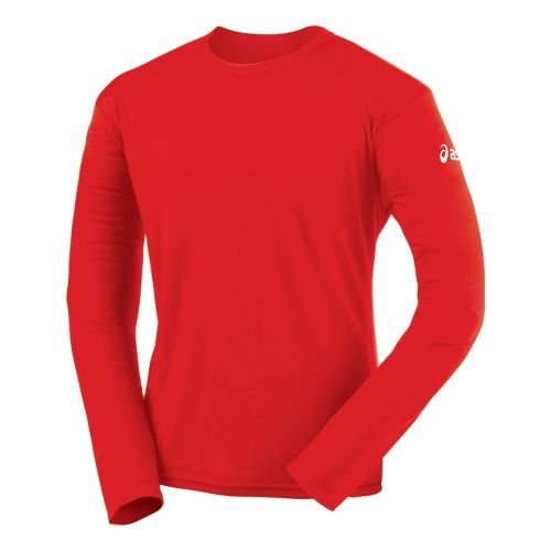 Mens ASICS Circuit-7 Warm-Up Shirt Long Sleeve No Zip Technical Tops - Red XS