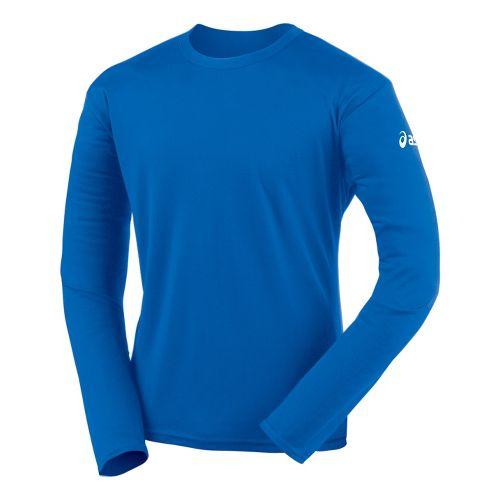 Mens ASICS Circuit-7 Warm-Up Shirt Long Sleeve No Zip Technical Tops - Royal S