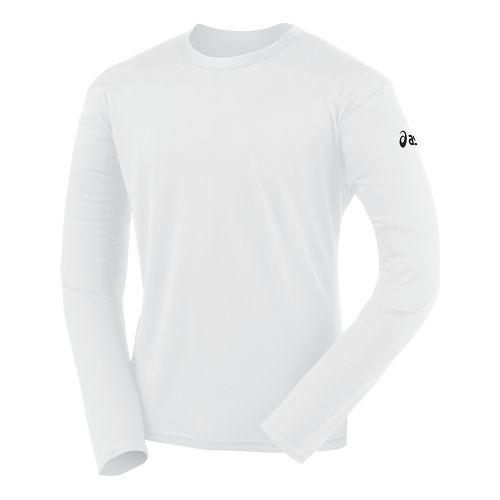 Mens ASICS Circuit-7 Warm-Up Shirt Long Sleeve No Zip Technical Tops - White XL
