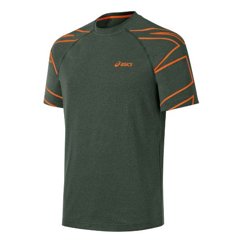 Mens ASICS Court Graphic Tee Short Sleeve Technical Tops - Army Green L