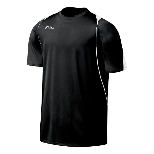 Mens ASICS Crusher Jersey Short Sleeve Technical Tops - Black/White XL