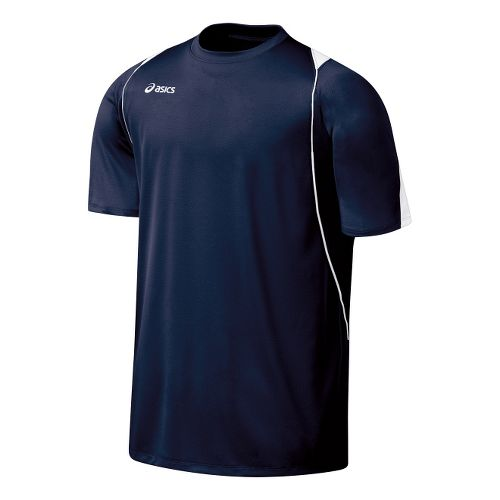 Mens ASICS Crusher Jersey Short Sleeve Technical Tops - Navy/White M