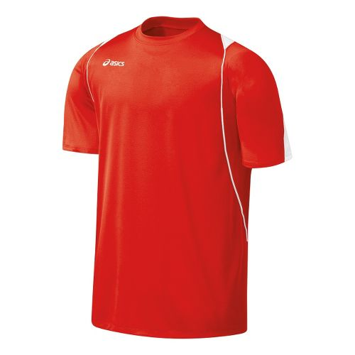 Mens ASICS Crusher Jersey Short Sleeve Technical Tops - Red/White L