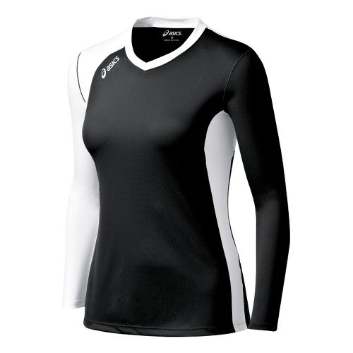 Womens ASICS Digg Long Sleeve No Zip Technical Tops - Black/White XS