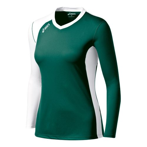 Womens ASICS Digg Long Sleeve No Zip Technical Tops - Forest/White L