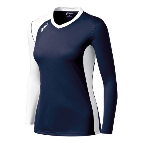 Womens ASICS Digg Long Sleeve No Zip Technical Tops - Navy/White 2X