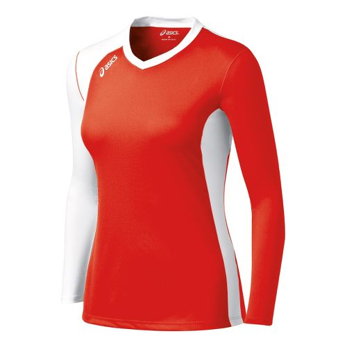 Womens ASICS Digg Long Sleeve No Zip Technical Tops - Red/White XS