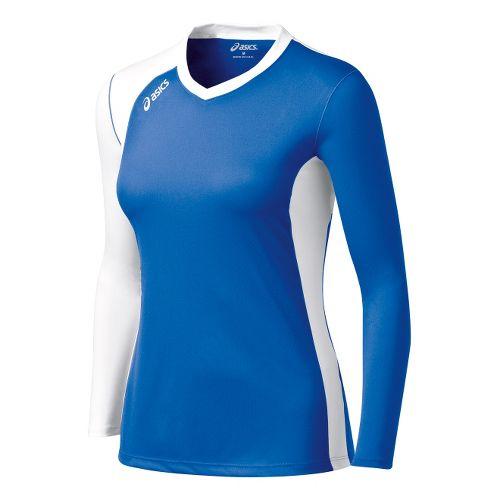 Womens ASICS Digg Long Sleeve No Zip Technical Tops - Royal/White XS