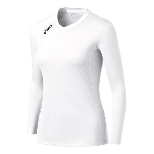 Womens ASICS Digg Long Sleeve No Zip Technical Tops - White/White 2X