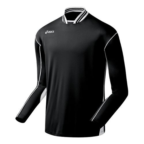 Mens ASICS Digg Long Sleeve No Zip Technical Tops - Black/White 2X