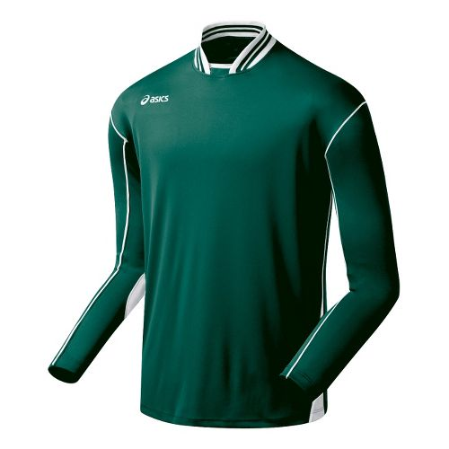 Mens ASICS Digg Long Sleeve No Zip Technical Tops - Forest/White L