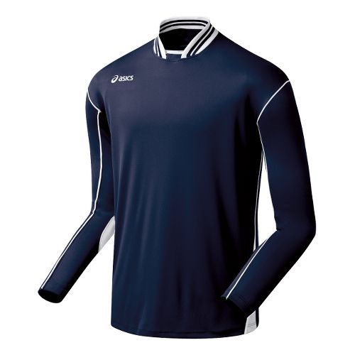 Mens ASICS Digg Long Sleeve No Zip Technical Tops - Navy/White M